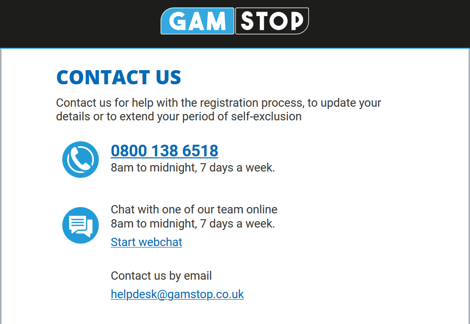 How to Contact GamStop