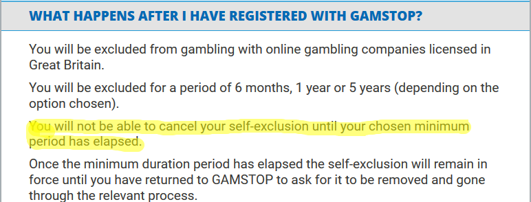 Image shows GamStop ban will not be raised until the time runs out