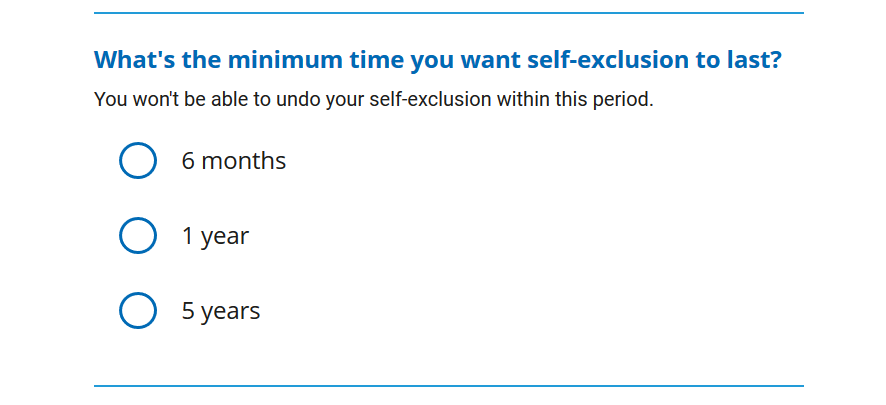 Minimum time that a self-exclusion lasts
