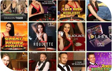 Crazyno casino live casino game selection