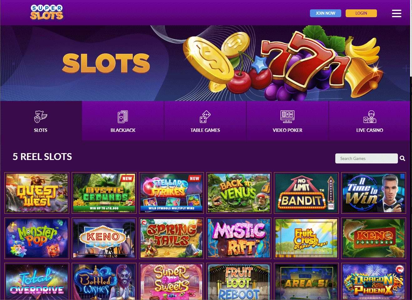 image of super slots ag home page